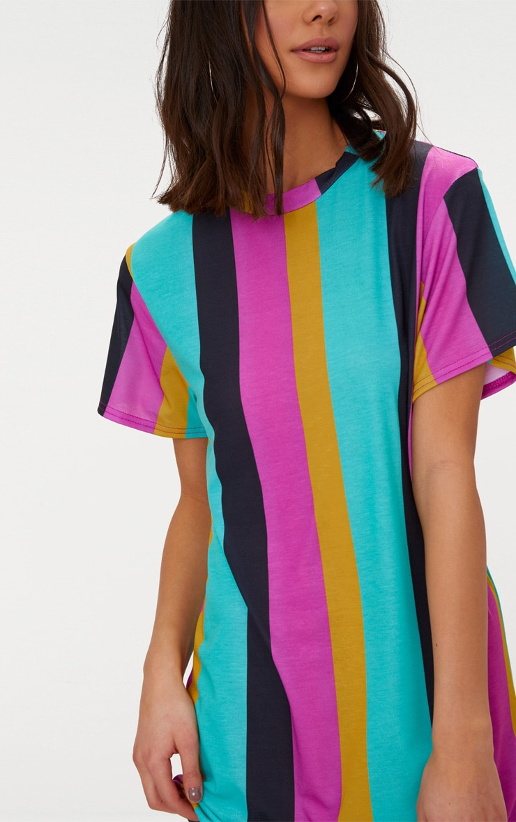 Pink Stripe T Shirt Dress 4