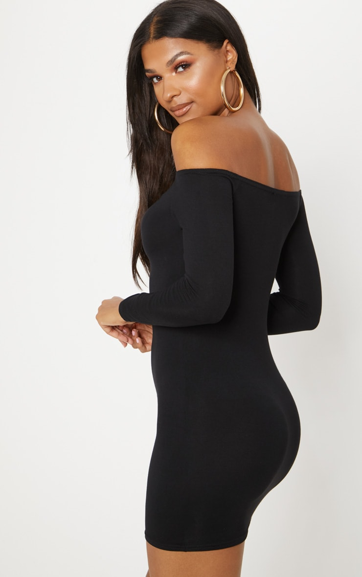 Basic robe moulante bardot noire 2