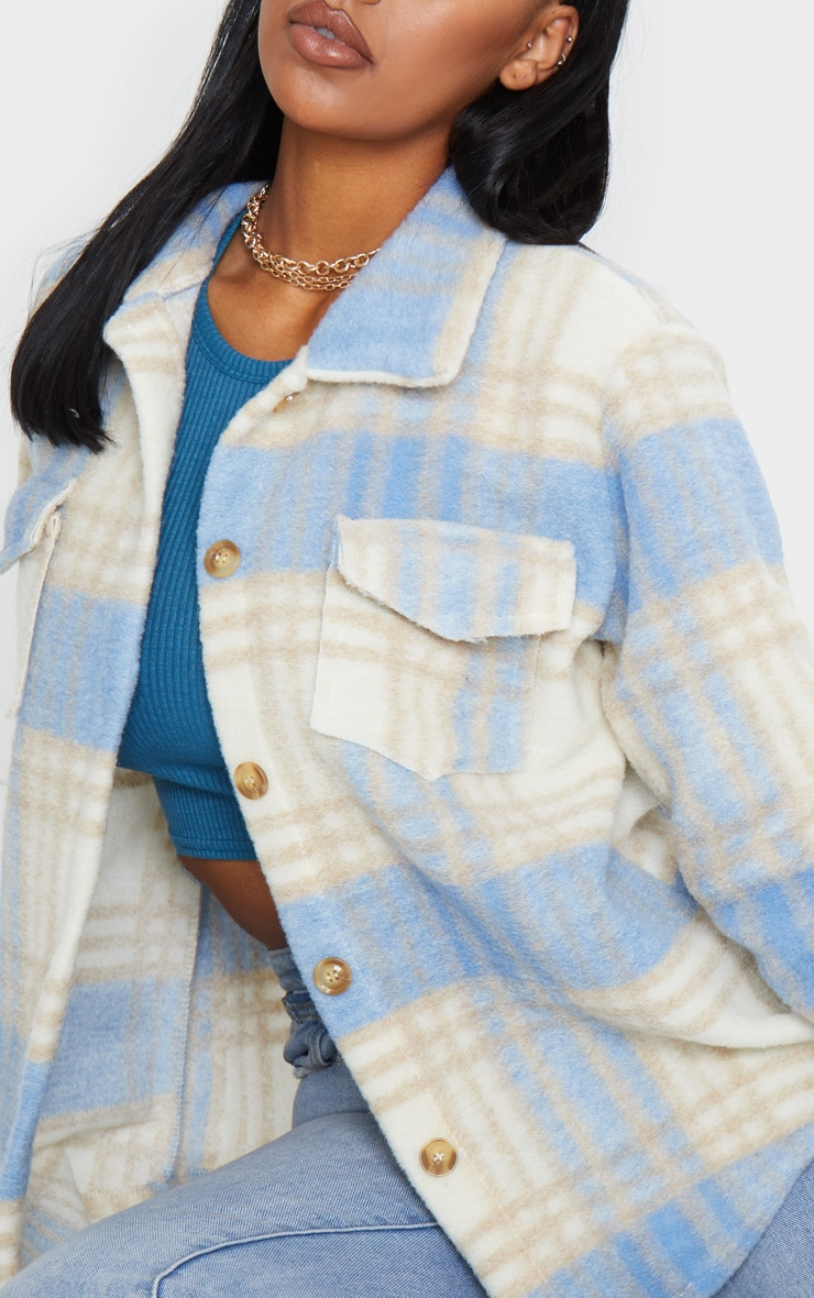 Blue Brushed Check Print Shacket 4