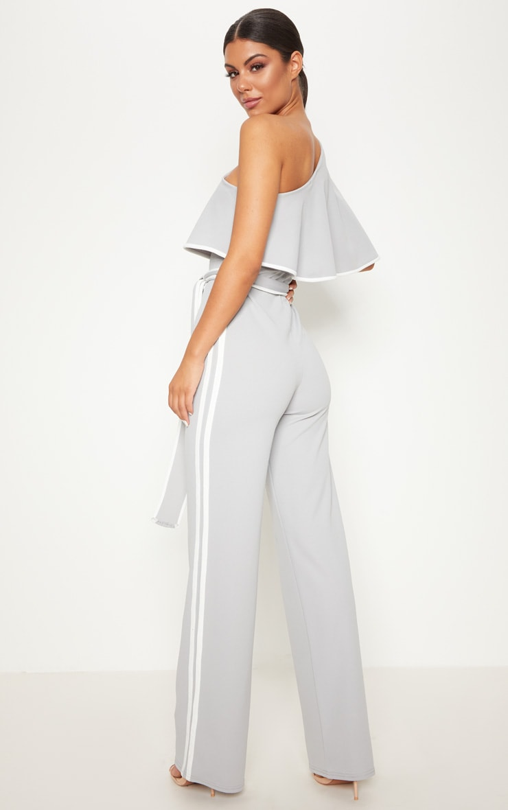 Grey One Shoulder Contrast Binding Jumpsuit 2