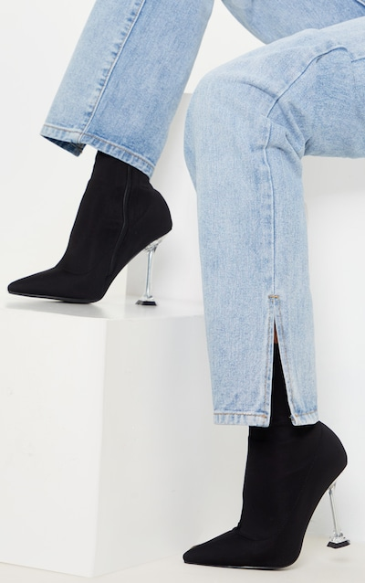 Black Cake Stand Clear Heel Sock Boot