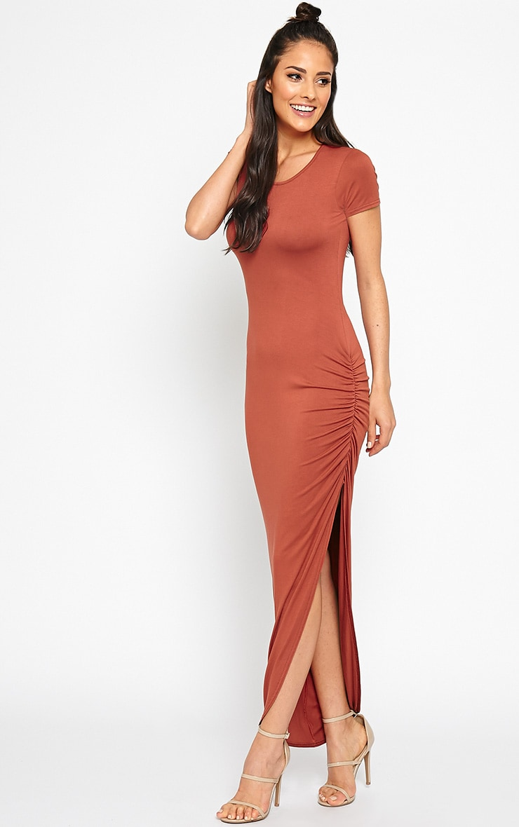 Basic Rust Ruched Cap Sleeve Maxi Dress 1