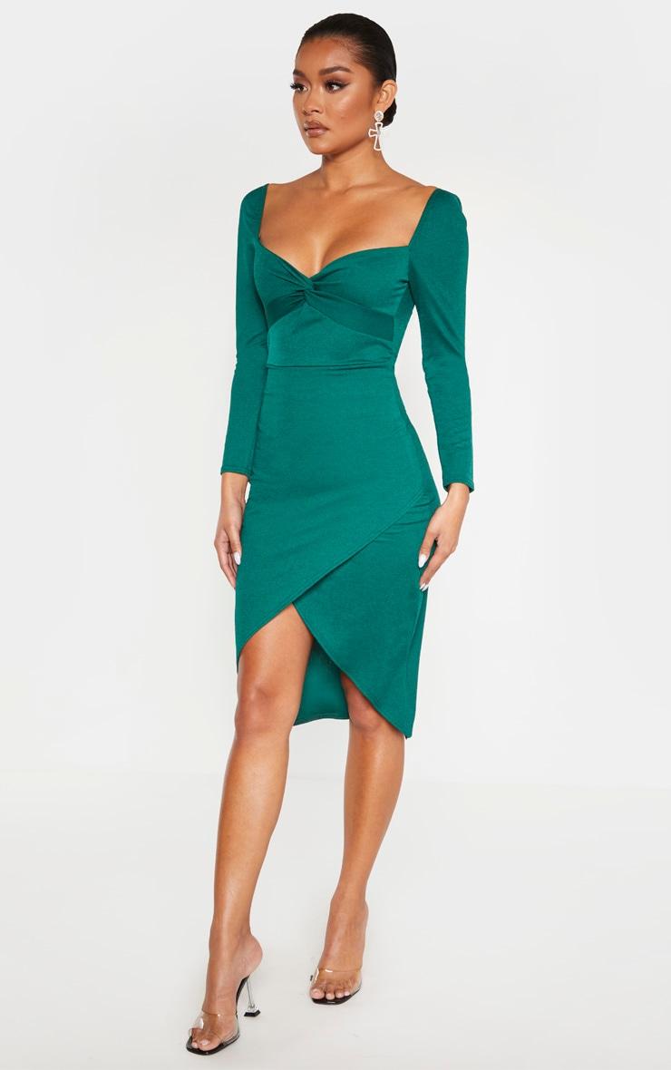 Emerald Green Twist Front Long Sleeve Wrap Midi Dress 4