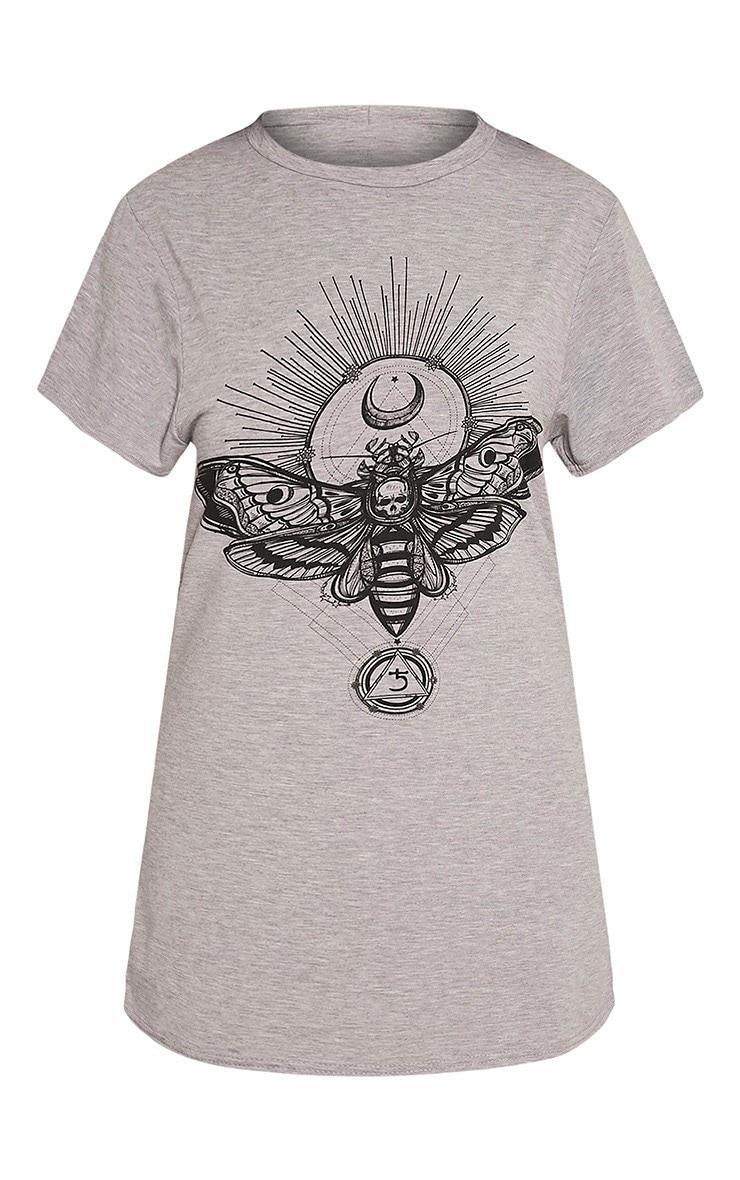 Moth robe t-shirt gris chiné à imprimé crâne 3