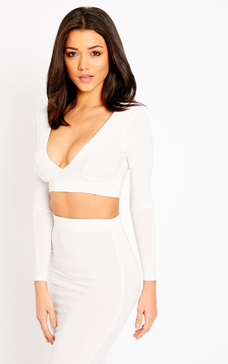 Ava Cream Slinky V-Neck Crop Top 4