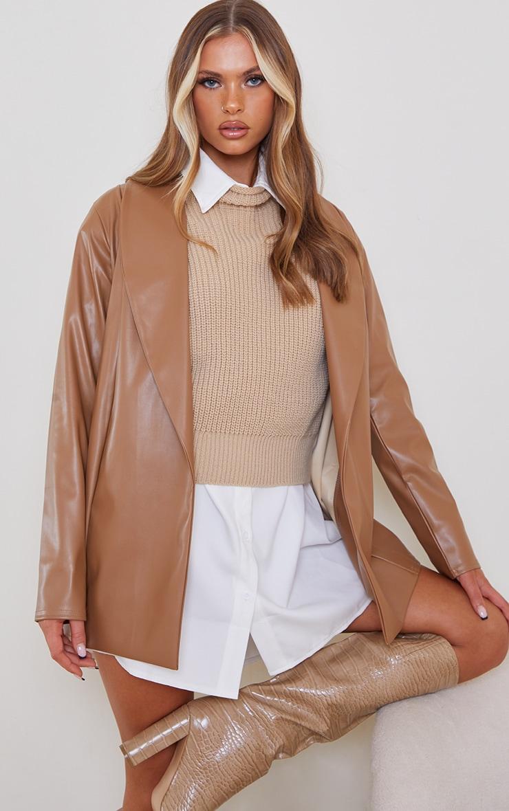 Tan Drop Collar Faux Leather Blazer 1