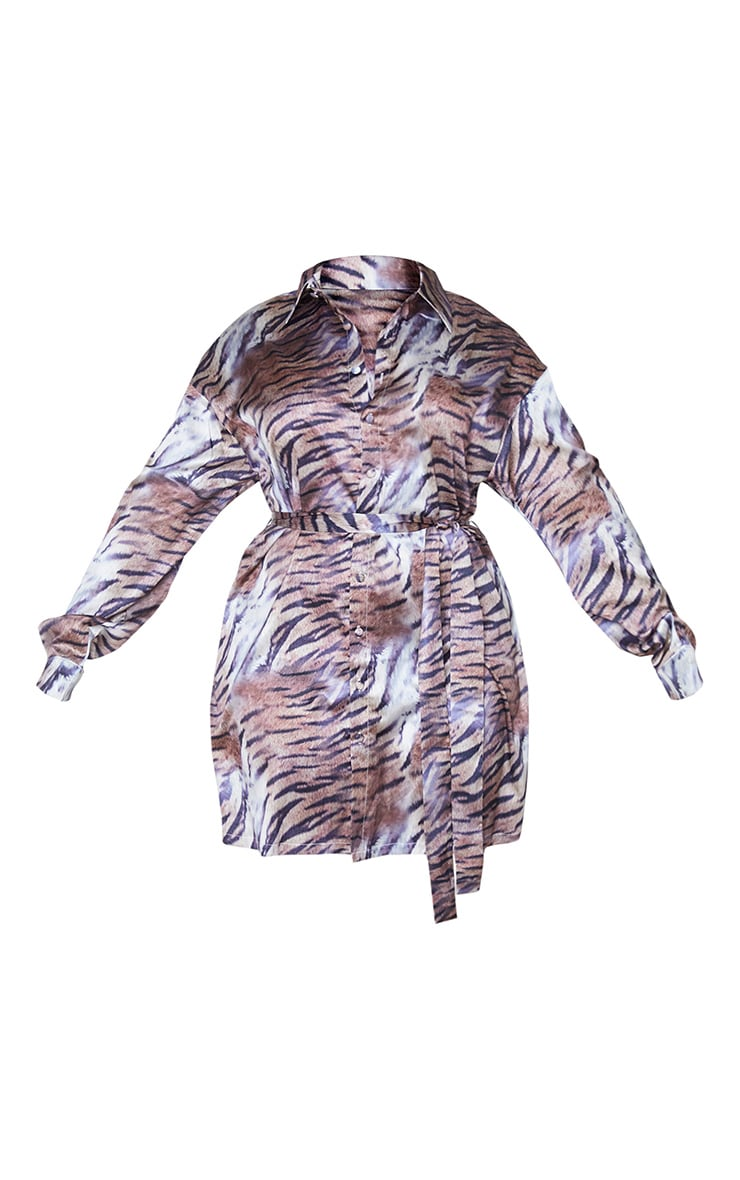 Plus Brown Faded Tiger Printed Tie Waist Shirt Dress 5