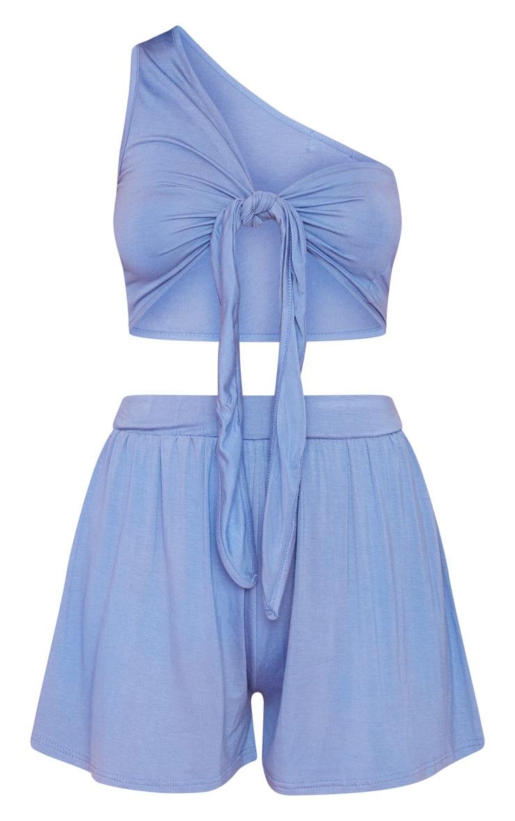 Dusty Blue Jersey Tie Detail Crop & Floaty Short Set 3