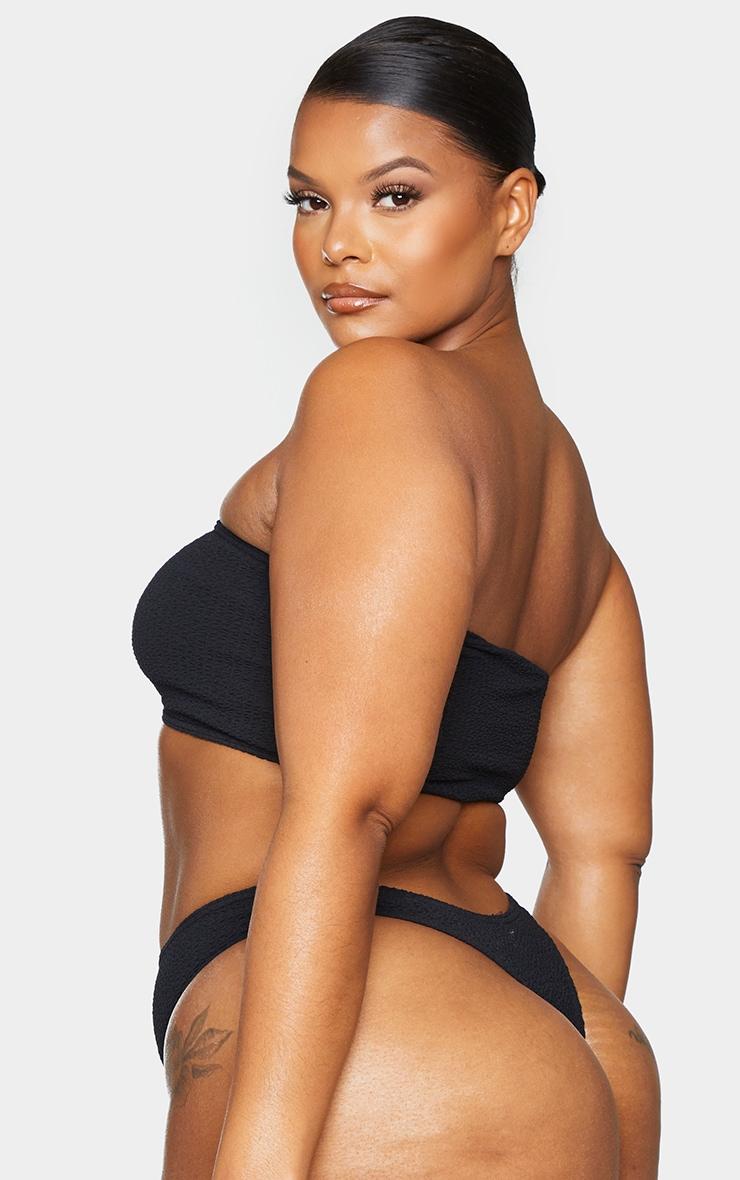 Plus Black Crinkle Strapless Bandeau Bikini Top 2