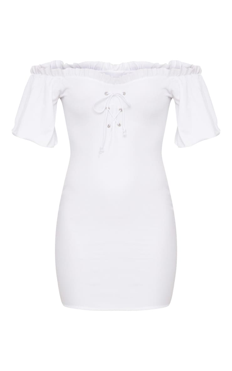 White Frill Trim Bardot Lace Up Detail Bodycon Dress 3