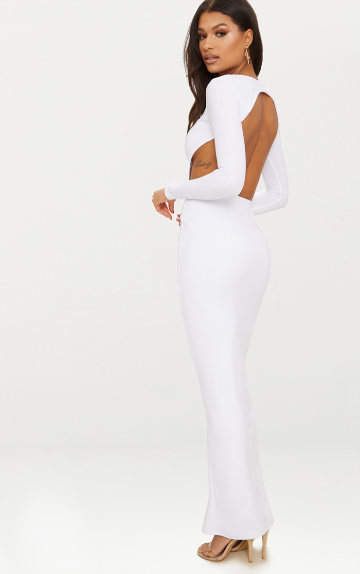 White Backless Long Sleeve Maxi Dress 2
