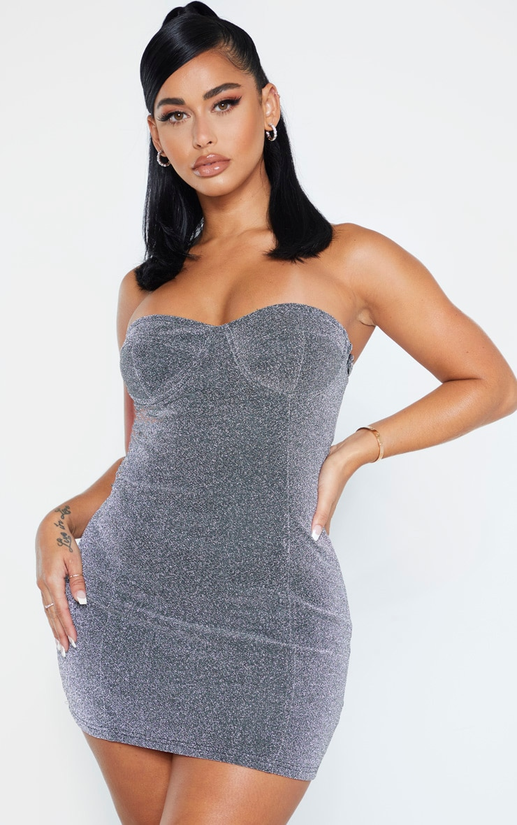 Shape Silver Glitter Cup Detail Bodycon Dress 5
