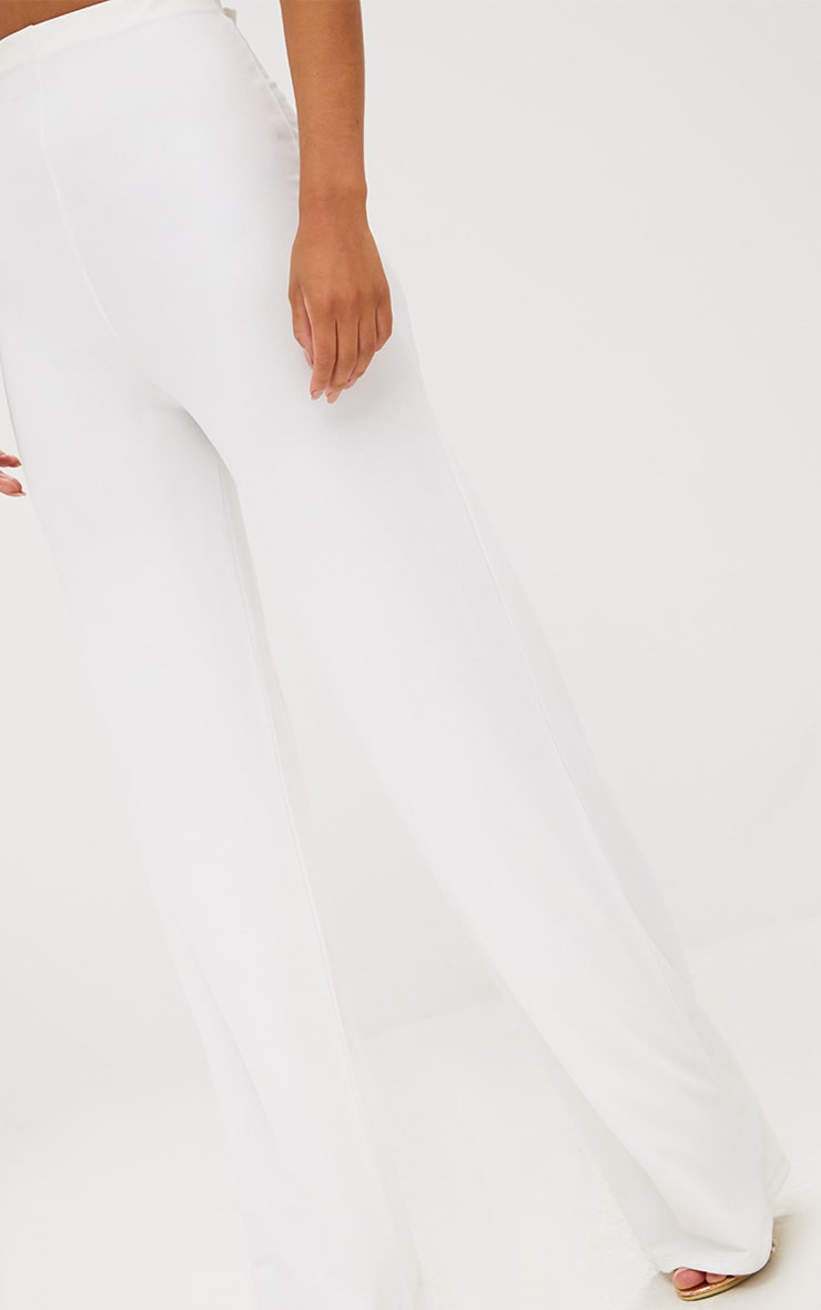 White High Waisted Wide Leg Trousers  6