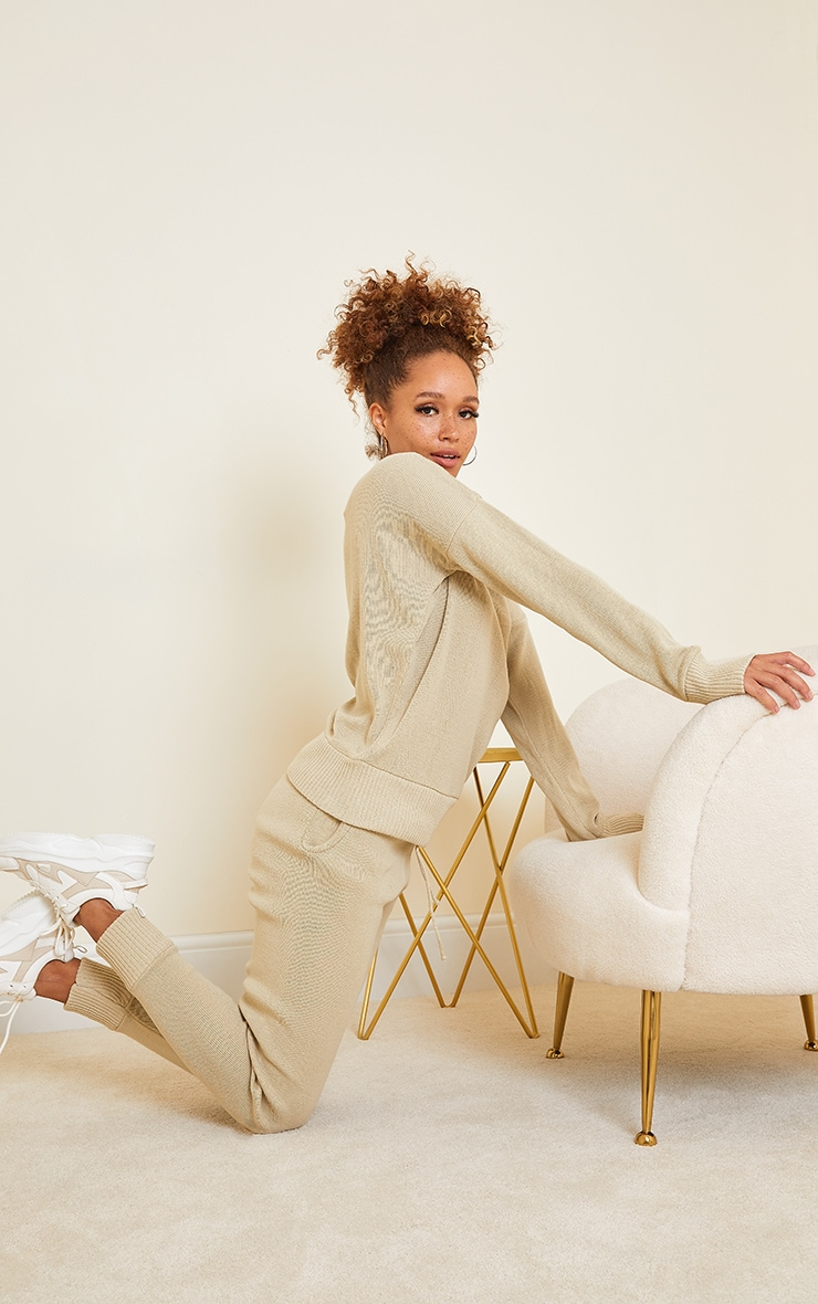 Auriel Stone Jogger Knitted Lounge Set 3