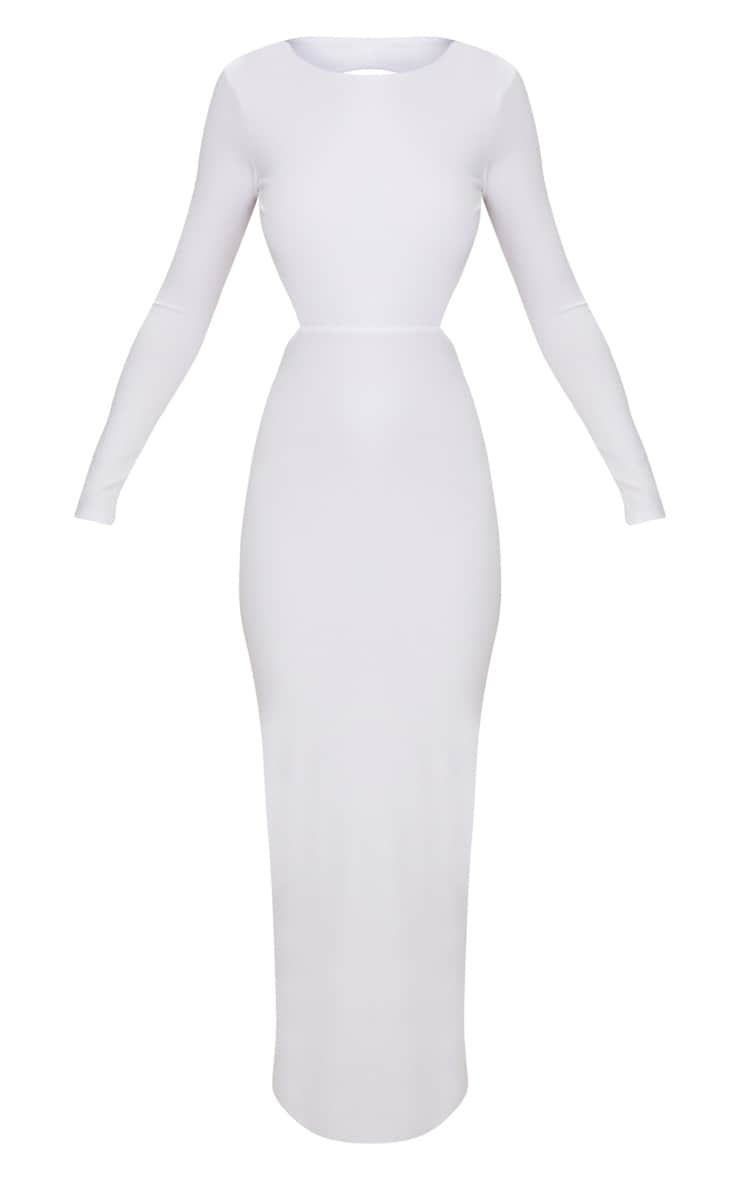 White Backless Long Sleeve Maxi Dress 3