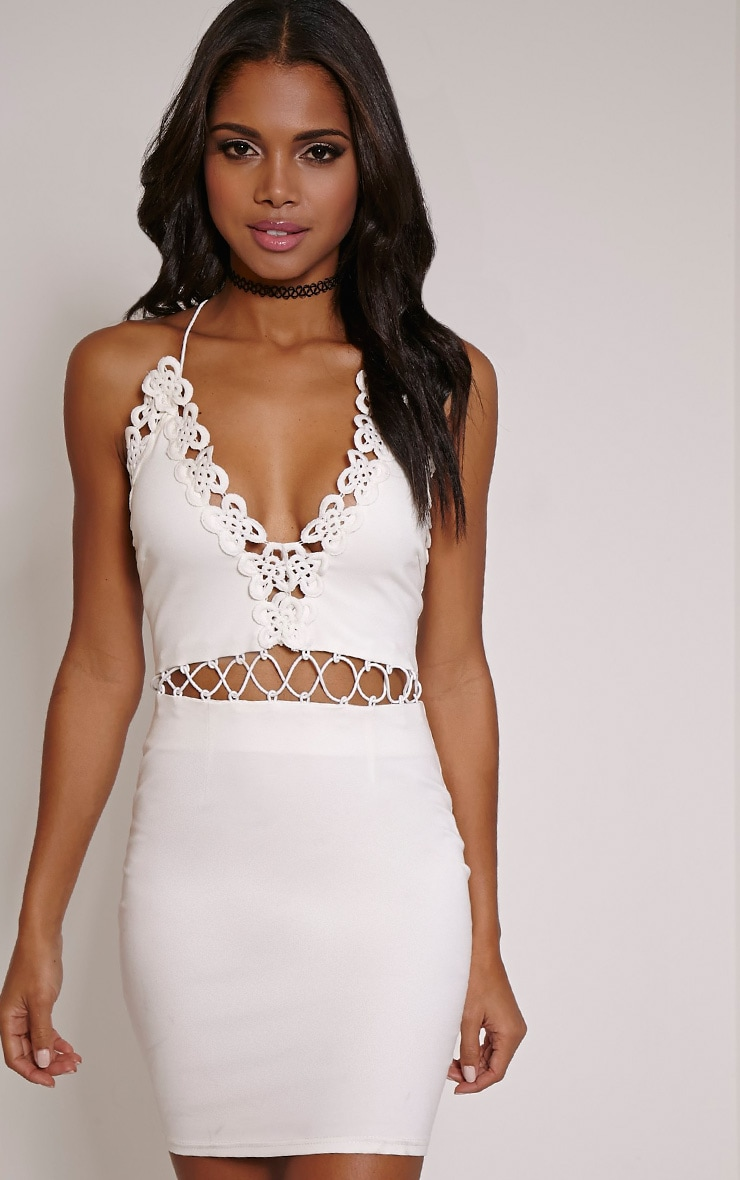 Ashley Cream Crochet Detail Mini Dress 1