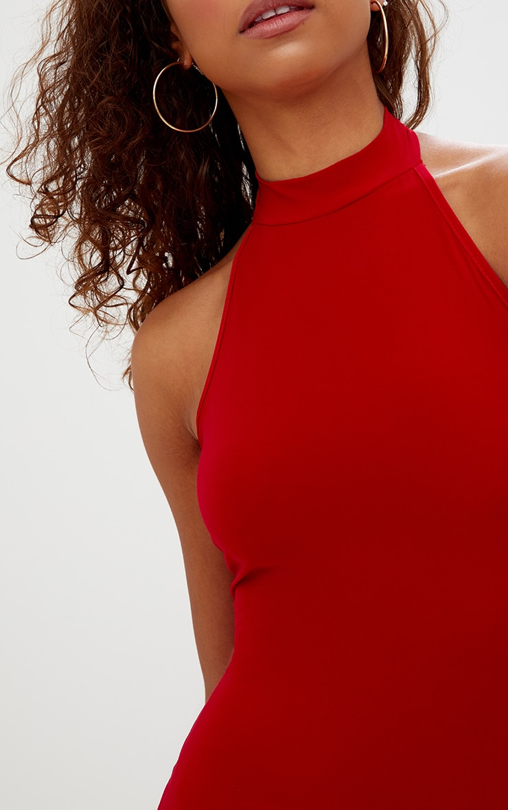 Petite Red High Neck Bodycon Dress 5