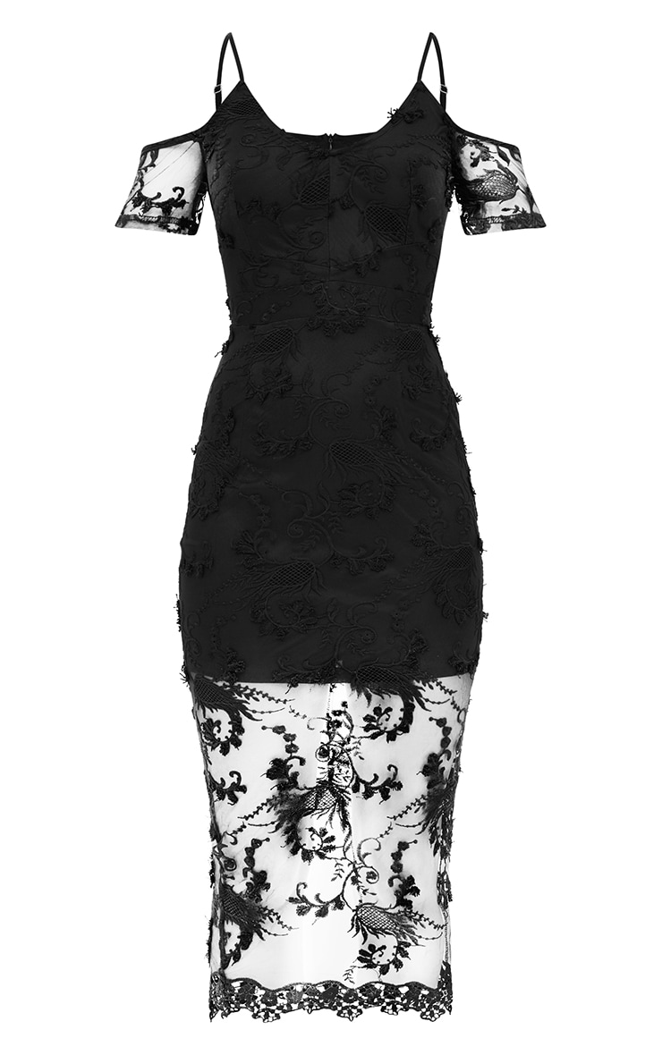 Black Embroidered Lace Cold Shoulder Midi Dress 3