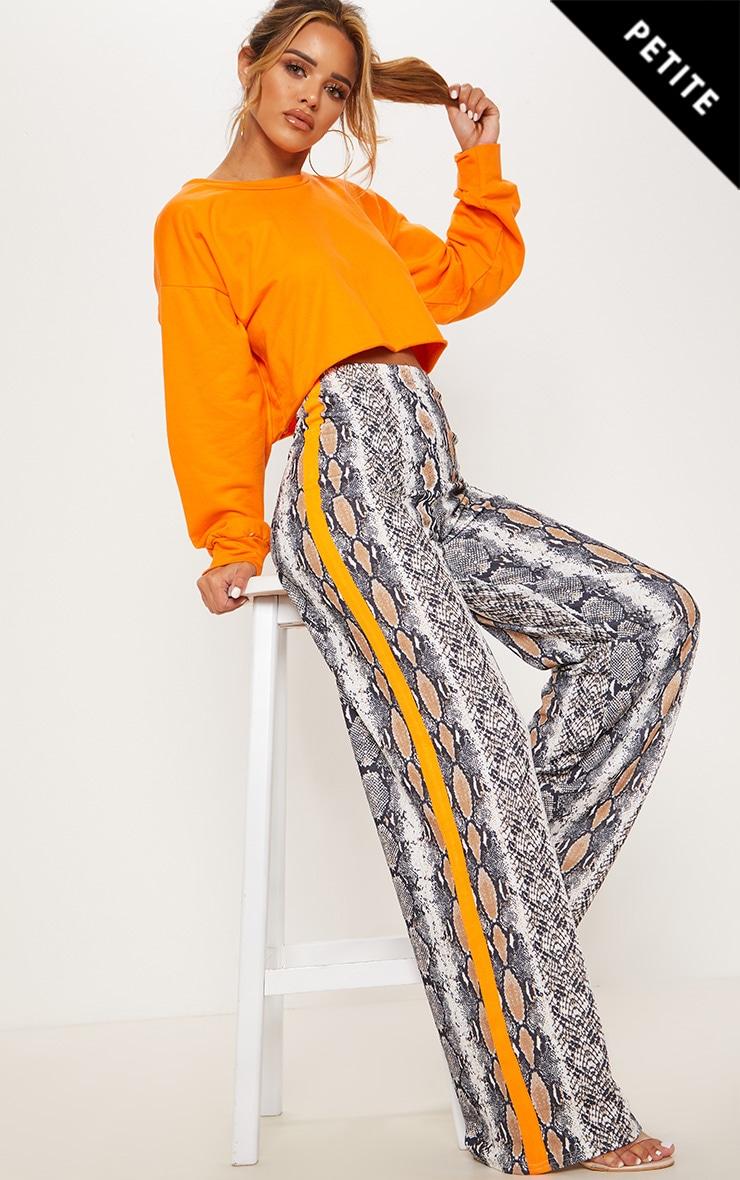 Petite Taupe Snake Print Neon Stripe Wide Leg Pants  1