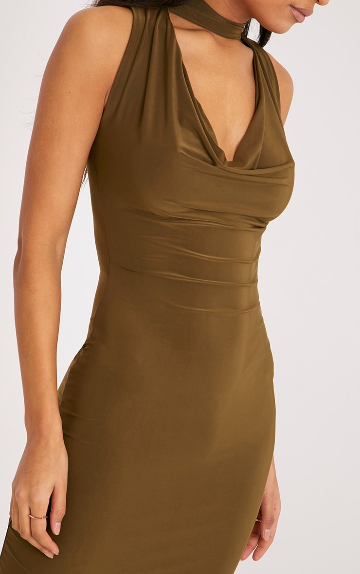 Nayasha Khaki Slinky Choker Wrap Midi Dress 5