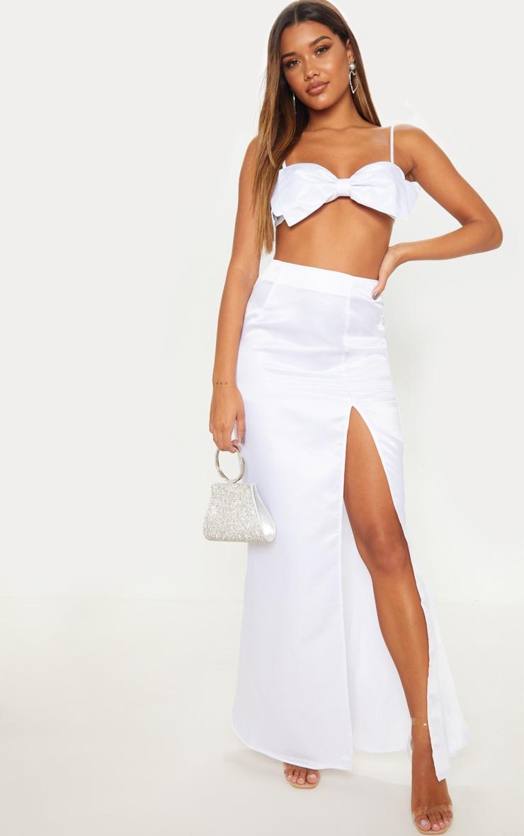 White Woven Split Front Maxi Skirt 1