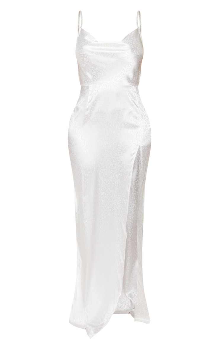 Shape White Leopard Print Satin Cowl Neck Maxi Dress 3