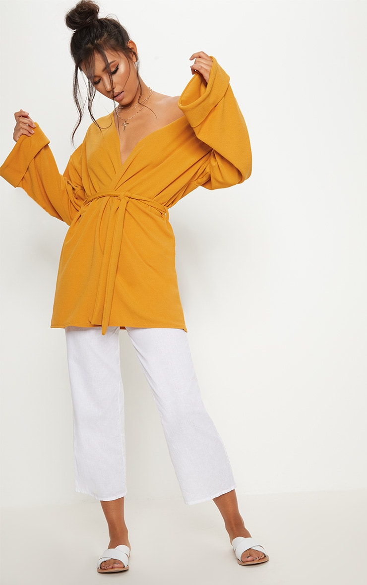 Mustard Belted Oversized Sleeve Blazer 3