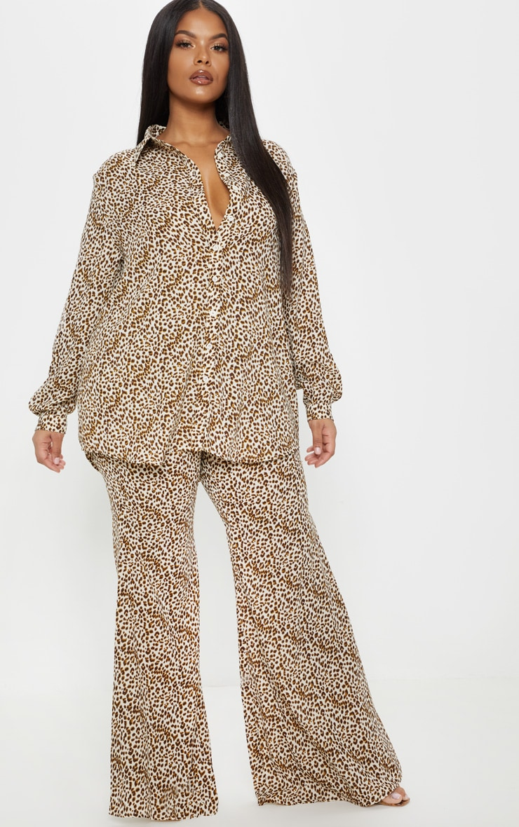 Plus Cream Leopard Print Satin Oversized Shirt 4