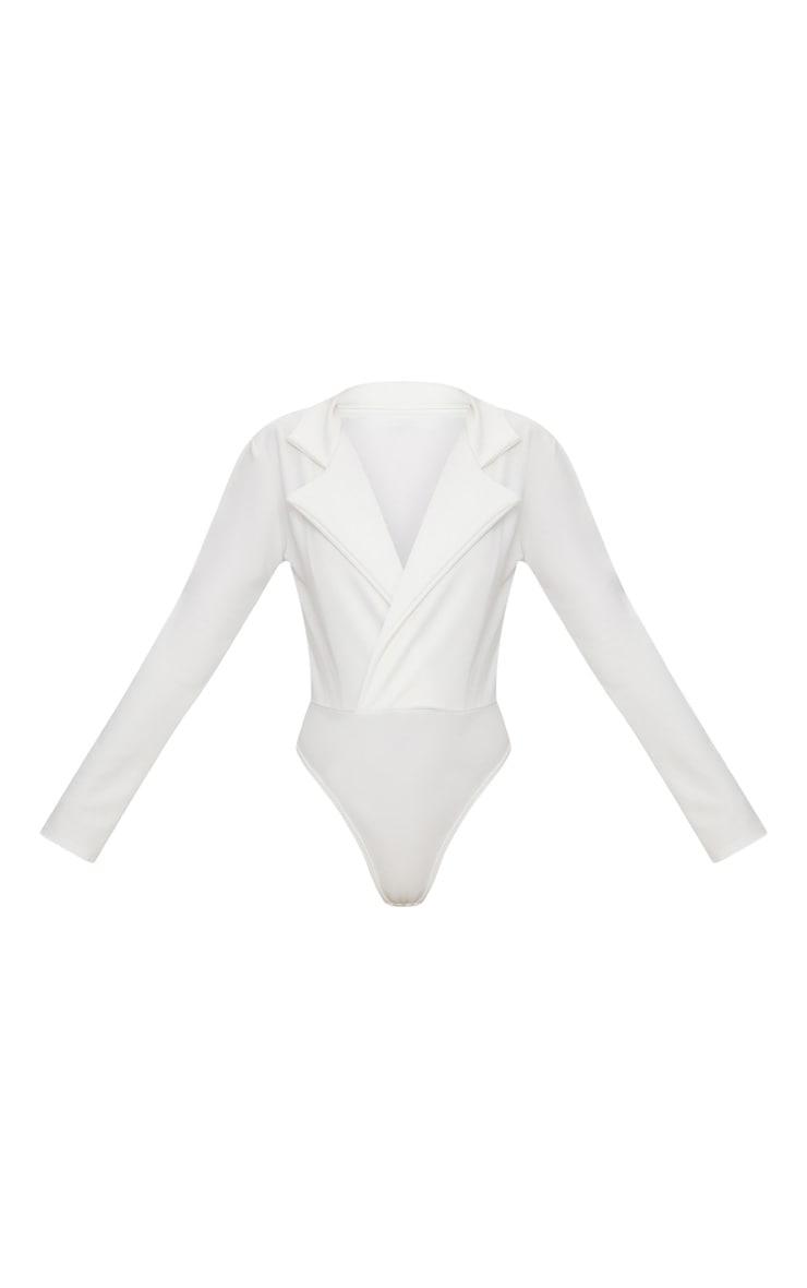 White Crepe Tux Blazer Thong Bodysuit  3