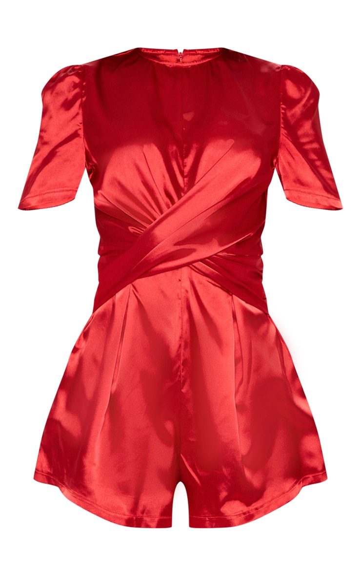 Red Satin Twist Detail Short Sleeve Romper 3