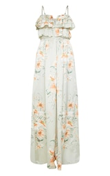 Sage Green Floral Strappy Ruffle Wide Leg Jumpsuit 5