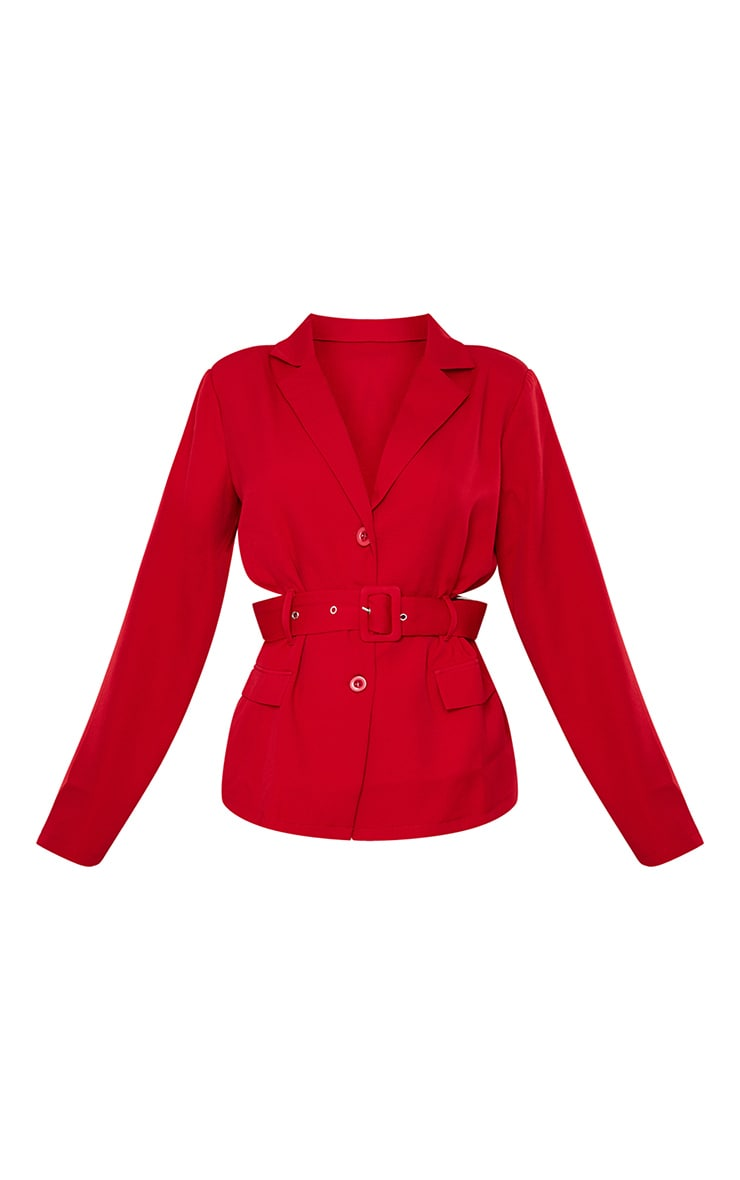 Red Woven Button Front Belted Waist Suit Blazer 5
