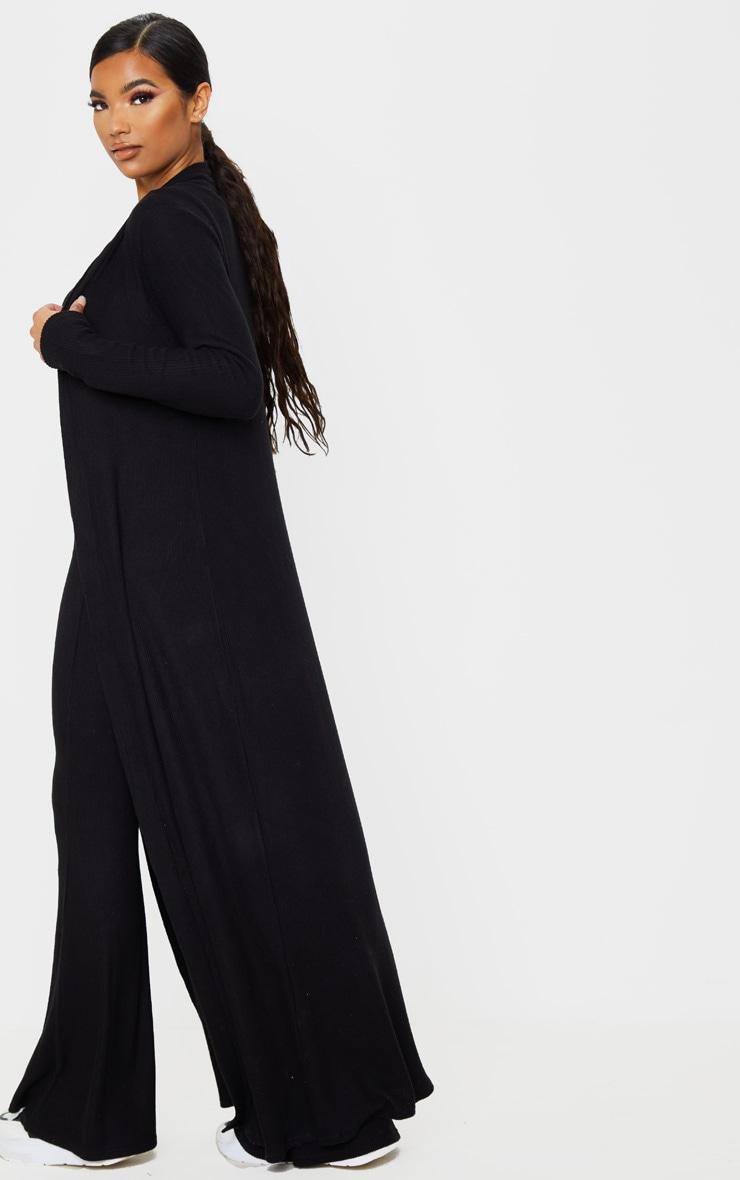 Black Brushed Rib Maxi Cardigan 2