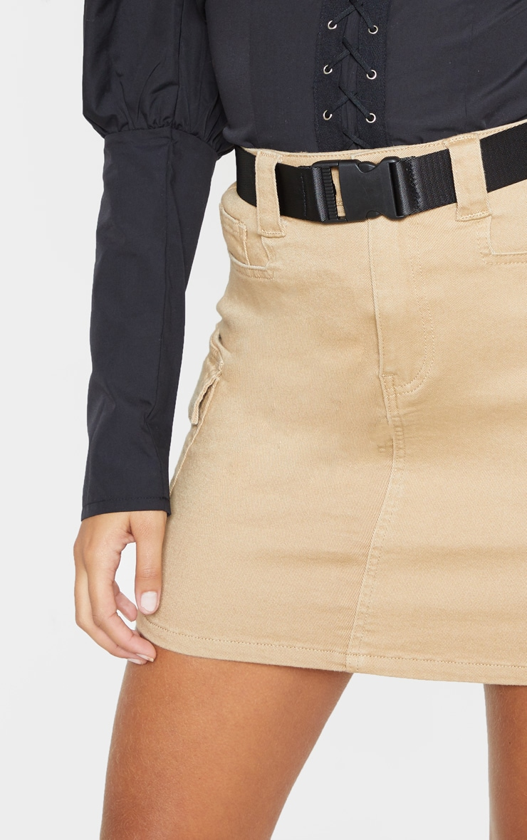Stone Cargo Pocket Belted Denim Skirt 6