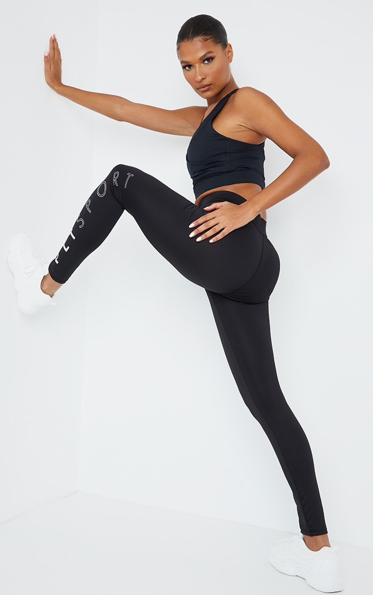 PRETTYLITTLETHING Black Cotton Yoga High Waist Leggings 1