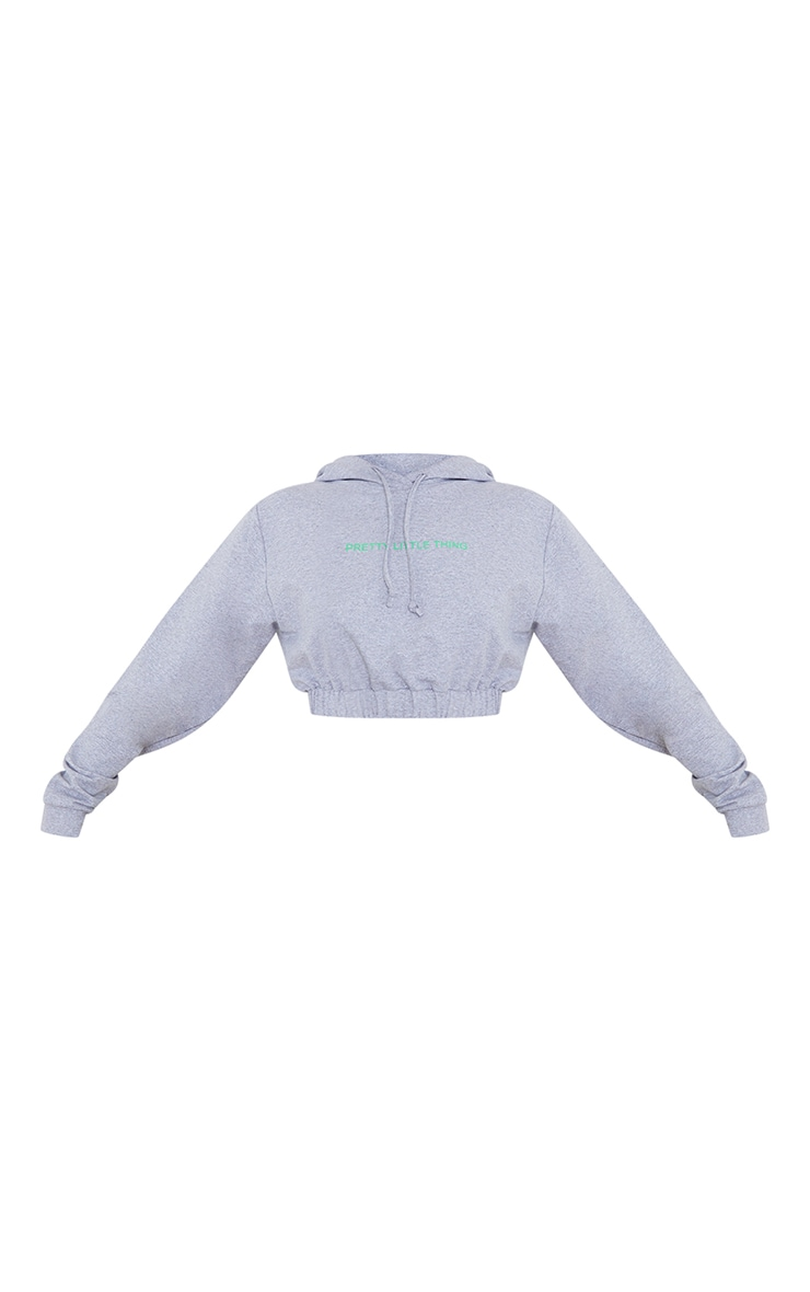 PRETTYLITTLETHING Grey Elasticated Hem Cropped Hoodie 5