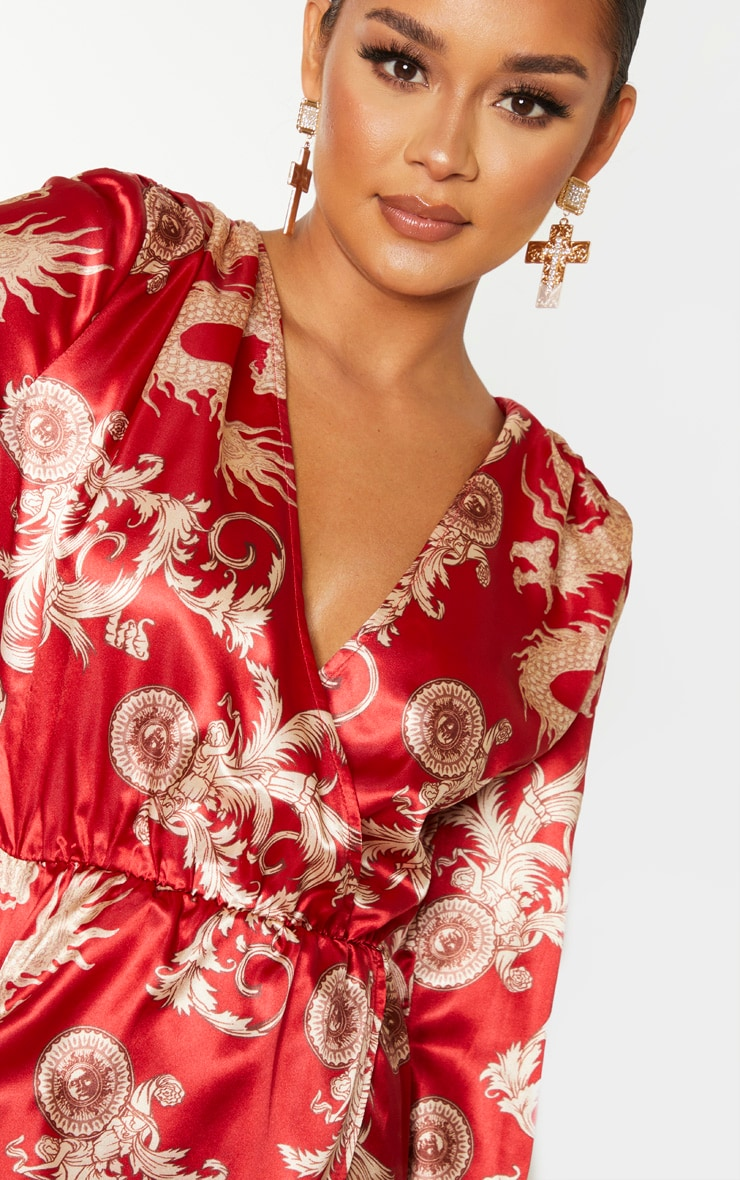 Red Dragon Print Satin Long Sleeve Wrap Maxi Dress 5