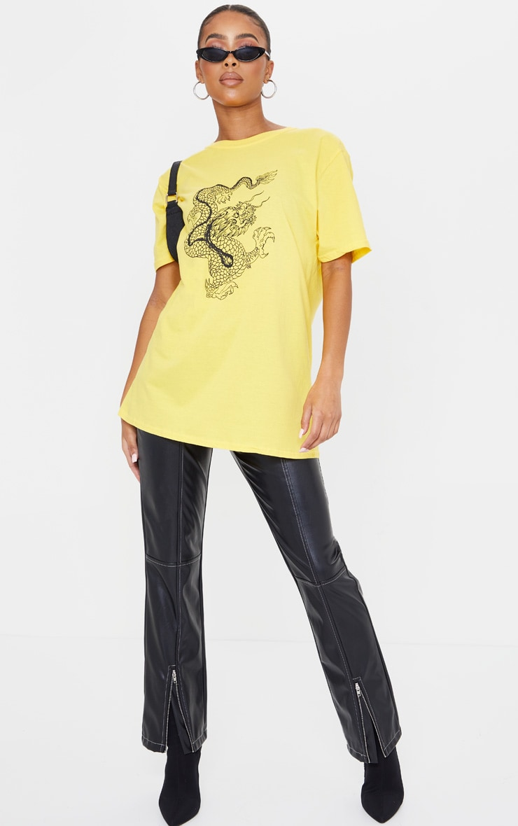 Yellow Contrast Dragon Print T Shirt 3