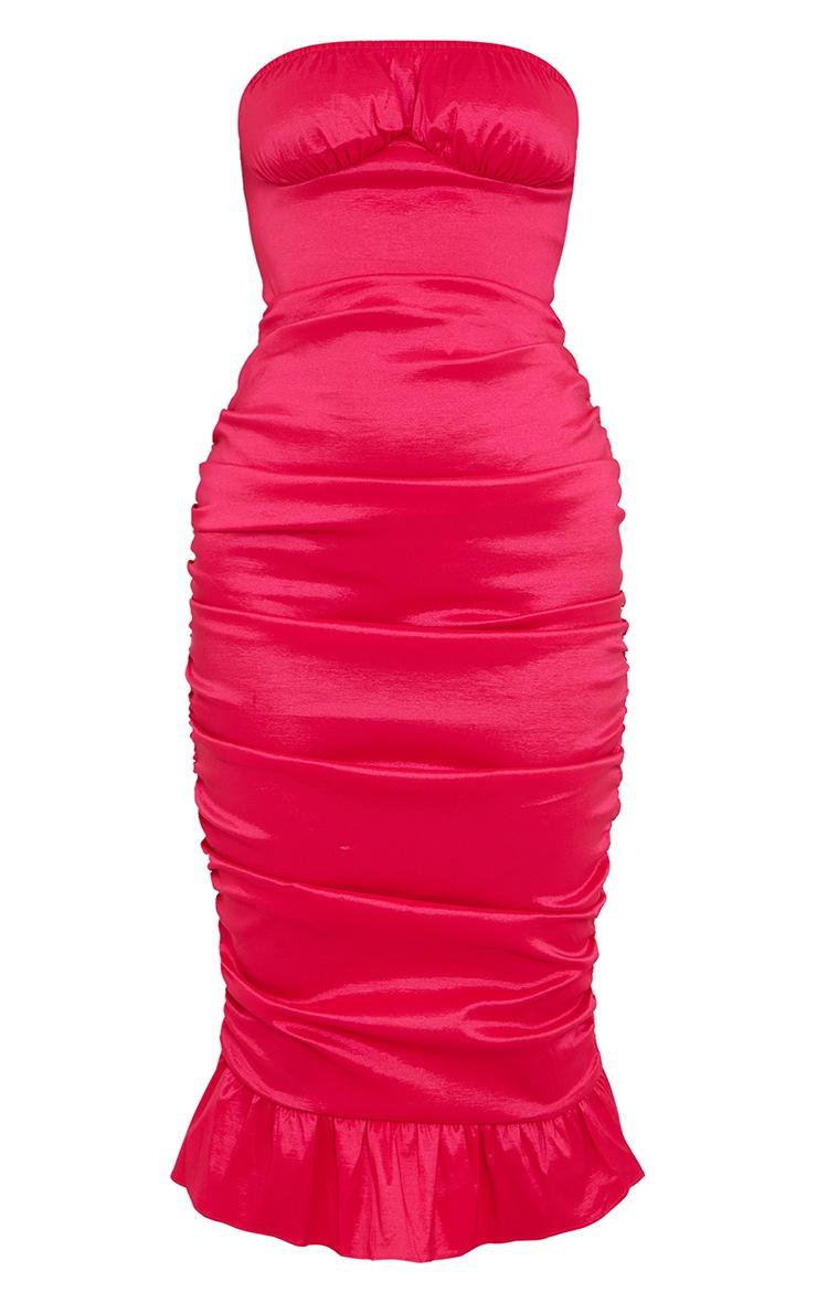 Hot Pink Taffeta Bust Seam Ruched Bandeau Midi Dress 5