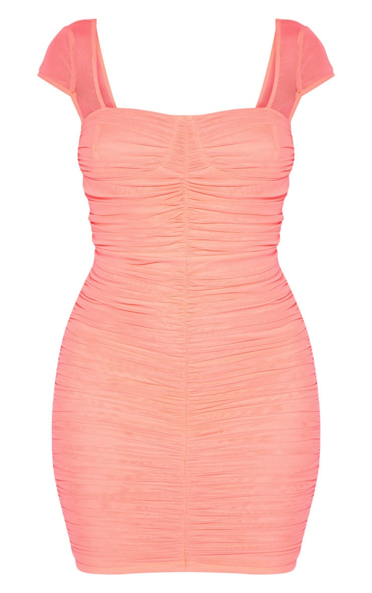 Coral Ruched Mesh Bodycon Dress 3