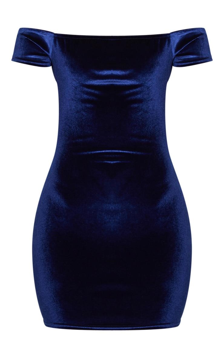 Navy Velvet Bardot Short Sleeve Bodycon Dress 3