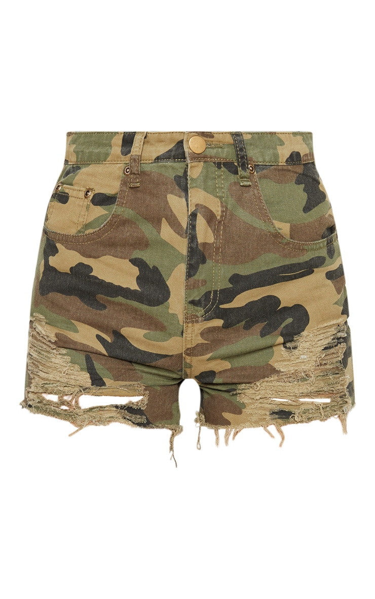 Jeanie Green Camo Extreme Ripped Denim Short 3