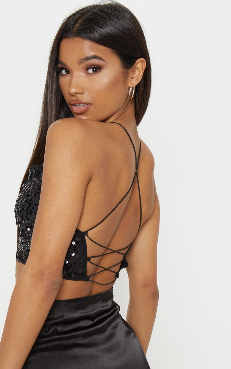 Black Cowl Neck Sequin Strappy Crop Top 1