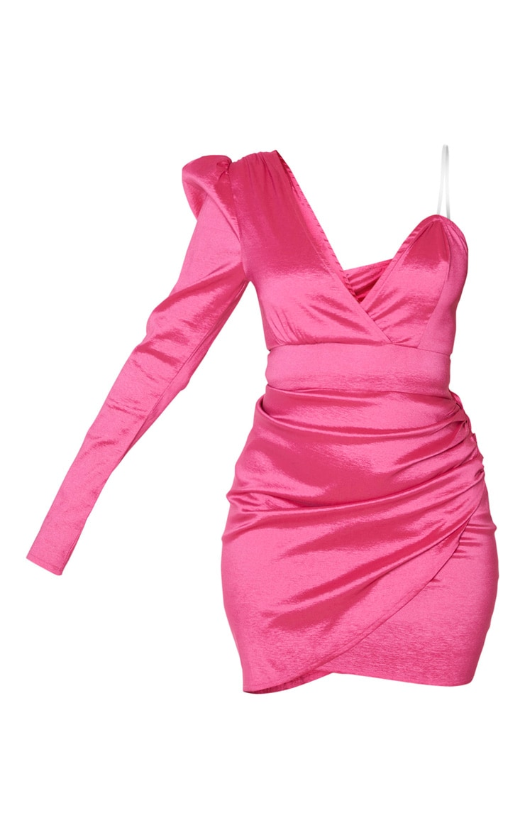 Hot Pink Woven Shimmer One Shoulder Wrap Detail Bodycon Dress 3