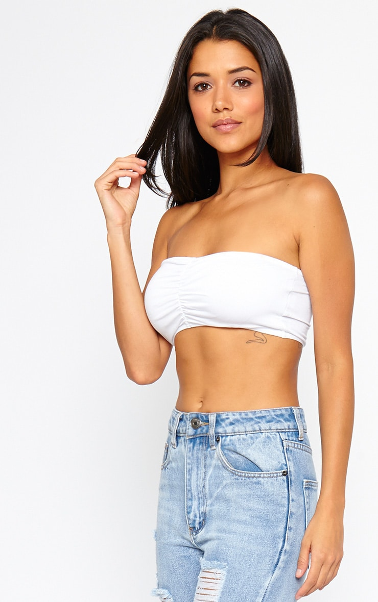 Basic White Ruched Front Bandeau Top 4