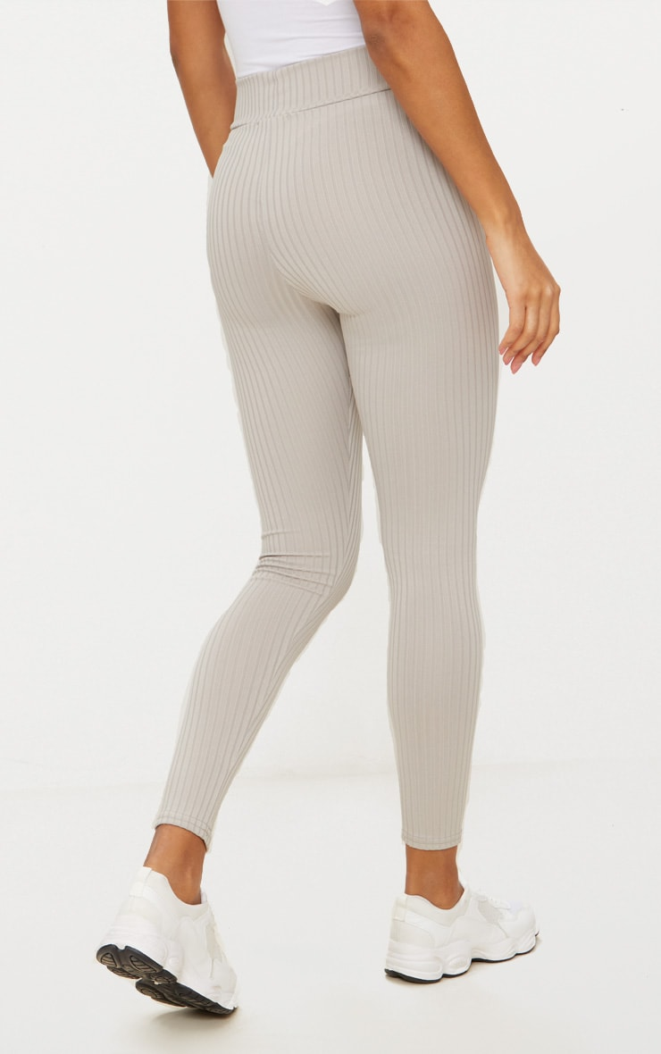 Harlie Grey Ribbed High Waisted Leggings 4