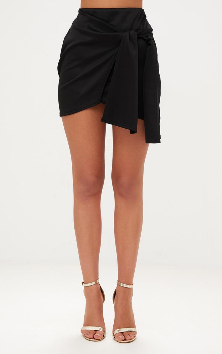 Black Tie Wrap Mini Skirt 2