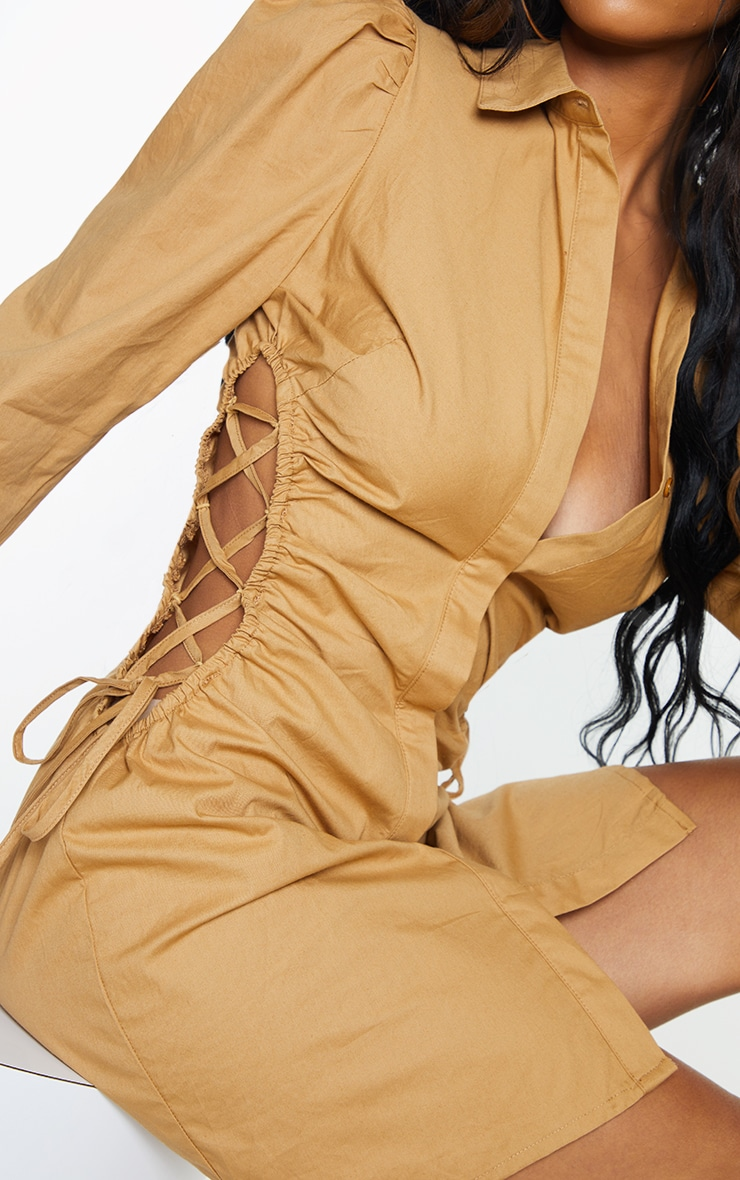 Camel Ruched Side Lace Up Detail Shirt Dress 4