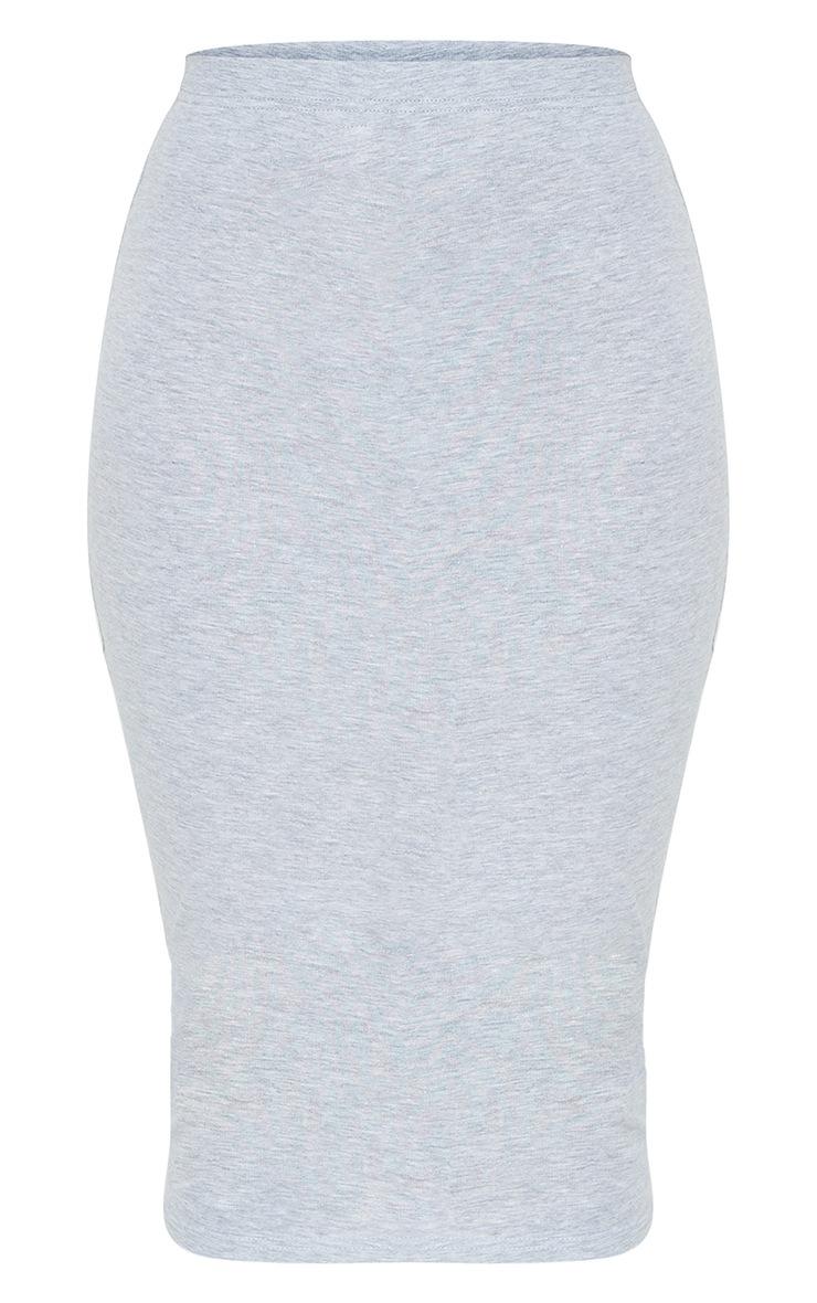 Grey Essential Jersey Midi Skirt  5