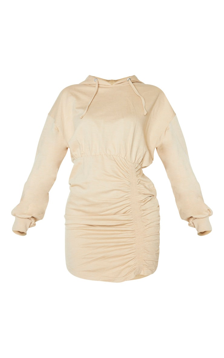 Camel Ruched Skirt Hoodie Dress 3